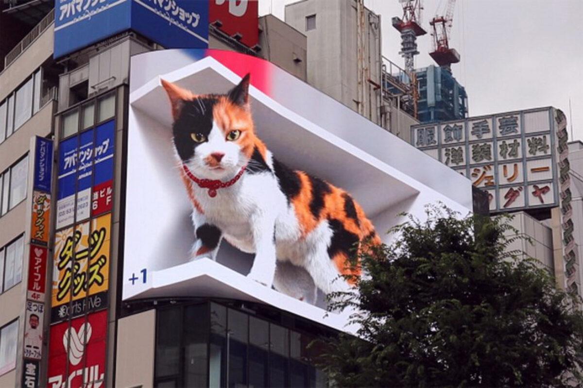 Δείτε την 3D γάτα που προκαλεί ταραχή σε έναν από τους πλέον πολυσύχναστους δρόμους του Τόκιο